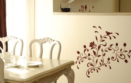 Obrázek z Samolepící dekorace - pnoucí květina s ptáčkem