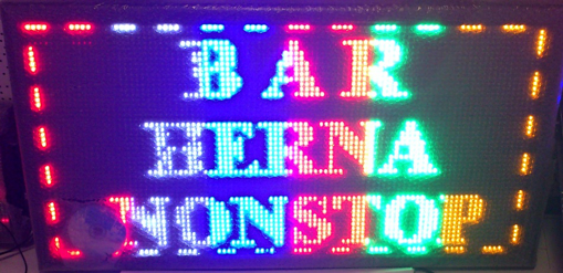 Obrázek z Světelná LED reklama, poutač - BAR - HERNA - NONSTOP