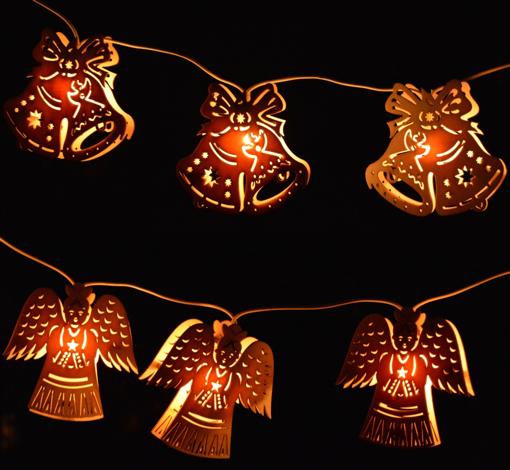 Obrázek z Dřevěný vyřezávaný světelný řetěz 10 ks