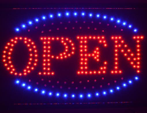 Obrázek z Světelná LED reklama, poutač - OPEN