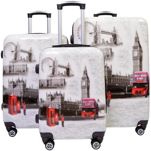Obrázek z Cestovní kufry sada 3 ks ABS - PC potisk London