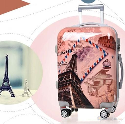 Obrázek z Cestovní kufr ABS vel. L - PC potisk Eiffelova věž