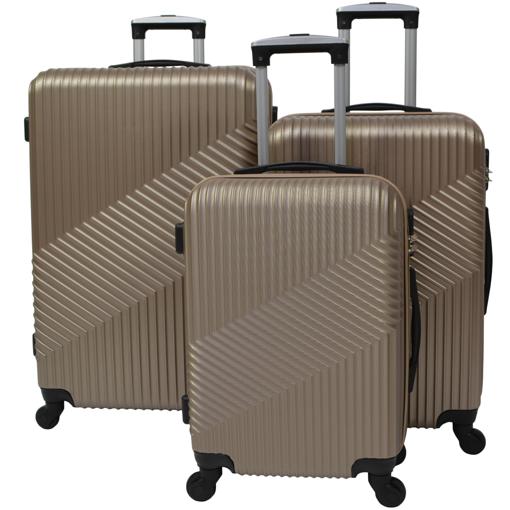 Obrázek z Skořepinové kufry 3 ks, cestovní sada na 4 kolečkách - Zetko