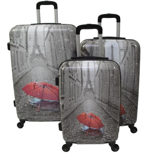Obrázek z Cestovní kufry sada 3 ks ABS - PC potisk Rain Paris