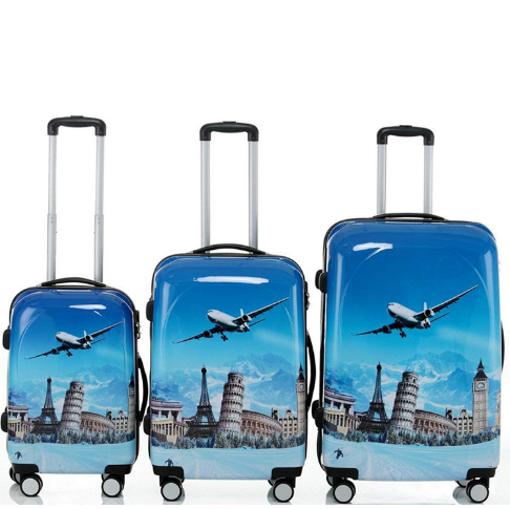 Obrázek z Cestovní kufry sada 3 ks ABS - PC potisk Aircraft