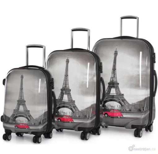 Obrázek z Cestovní kufry sada 3 ks ABS - PC potisk Paris Tower