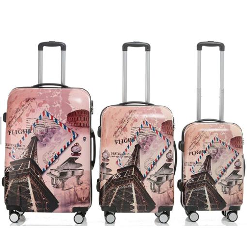 Obrázek z Cestovní kufry sada 3ks ABS - PC tisk Eiffelova věž