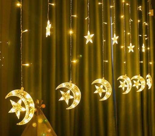Obrázek z LED světelná záclona hvězda a měsíc - 138 LED/ 4,5 m propojovatelná