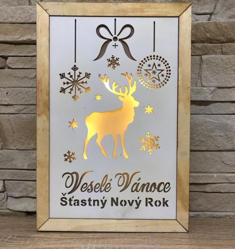 Obrázek z Dřevěná svítící LED dekorace Veselé Vánoce