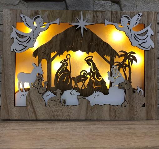 Obrázek z LED světelný Betlém, dřevěná dekorace