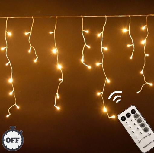 Obrázek z Vánoční osvětlení venkovní, světelné LED krápníky 1500 ks/45 m s časovačem a dálkovým ovládáním