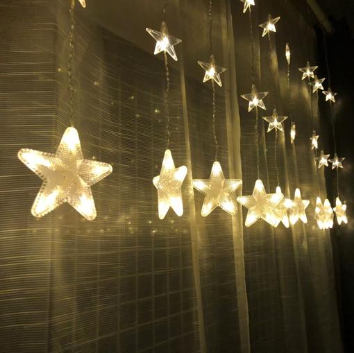 Obrázek z LED světelná záclona hvězdy - 84 LED/4,5 m propojovatelná