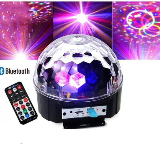 Obrázek z Magická Disco koule s MP3 přehrávačem, LED světelnými efekty, RGB, ovládání hudbou, USB, SD
