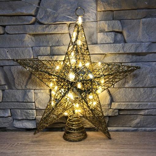 Obrázek z LED vánoční kovová 3D hvězda na stromeček - 20 cm