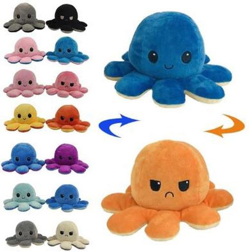 Obrázek z Oboustranná plyšová chobotnice s měnícím se výrazem - velká