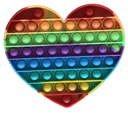 Obrázek z Pop It Rainbow JUMBO - antistresová hračka srdce