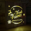 Obrázek z Dřevěná svítící LED dekorace Veselé Vánoce a Šťastný Nový Rok
